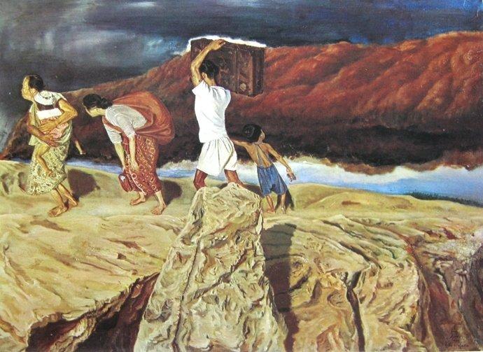 Sudjojono, mengungsi, oil on canvas, 104cm X 144cm, Th 1947-koleksi bung karno