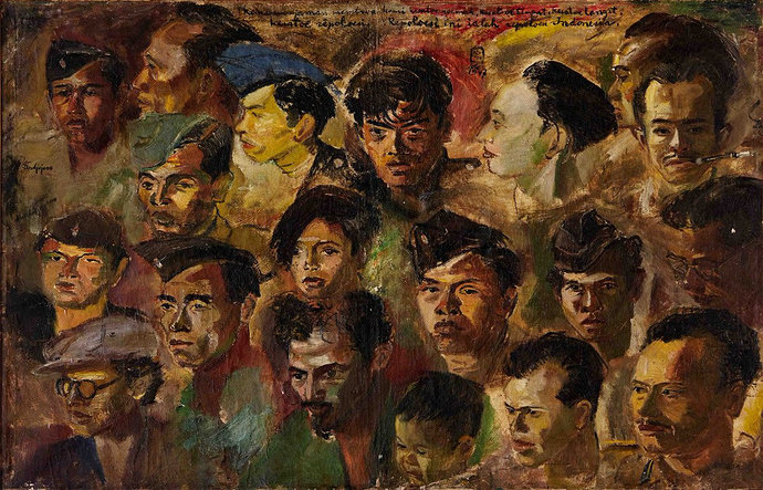 """Kawan-kawan revolusi"" by S.Sudjojono"