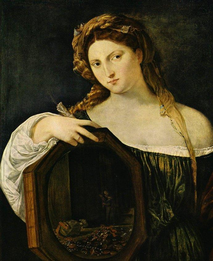 Vanity by Titian, 97cm × 81 cm, oil on canvas, 1515 - Alte Pinakothek (Munich)