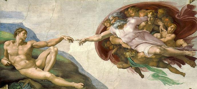 """Lukisan karya Michelangelo, """"The Creation of Adam"""" atau Penciptaan Adam"""