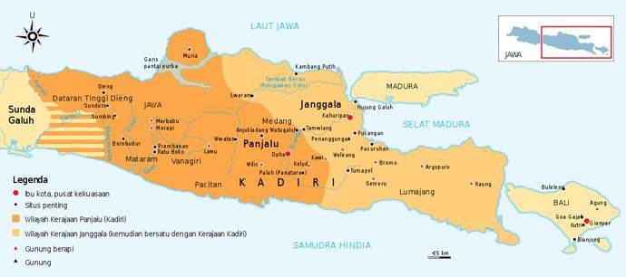 Peta daerah kekuasaan kerajaan Jenggala