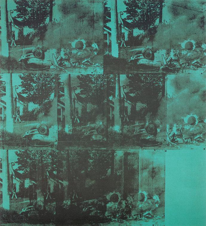 Lukisan Andy Warhol : Green Car Crash (Green Burning Car I)