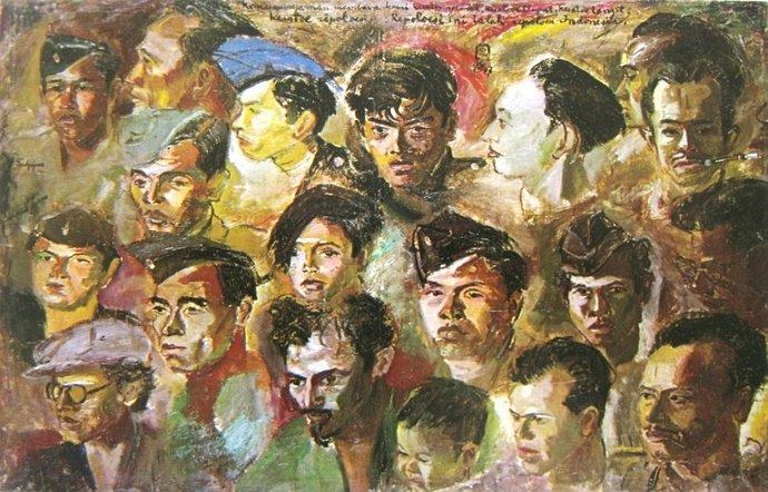 Sudjojono, kawan-kawan revolusi, oil on canvas, 95cm X 149cm-koleksi bung karno