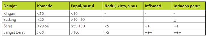 Klasifikasi derajat acne berdasarkan jumlah dan tipe lesi