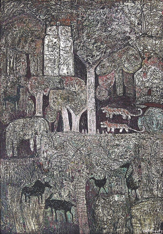 Hutan by Popo Iskandar, 100 x 70 cm, oil on canvas, 1973