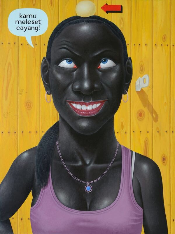 Smile Target by I Nyoman Masriadi, 200cm x 150 cm, Acrylic on canvas, 2015