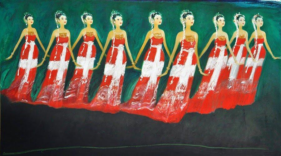 Bedaya Ela Ela, Moments of Meditation, Srihadi Soedarsono, 350 cm x 200cm, Oil on canvas,  2012
