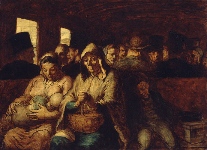 Lukisan The Third Class Carriage (1862). Honore Daumier.