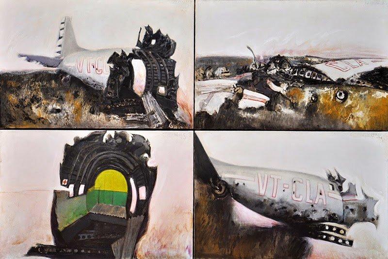 Srihadi Soedarsono, Jatuhnya Pesawat VT CLA, 280 cm x 190cm, Oil on canvas,  2012
