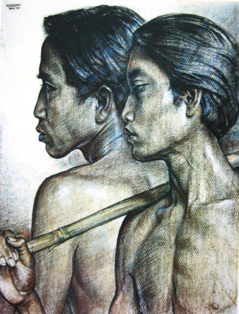 Bonnet, Dua Petani, crayon diatas kertas, 71,5cm X 56cm, Th 1957-Koleksi Bung Karno