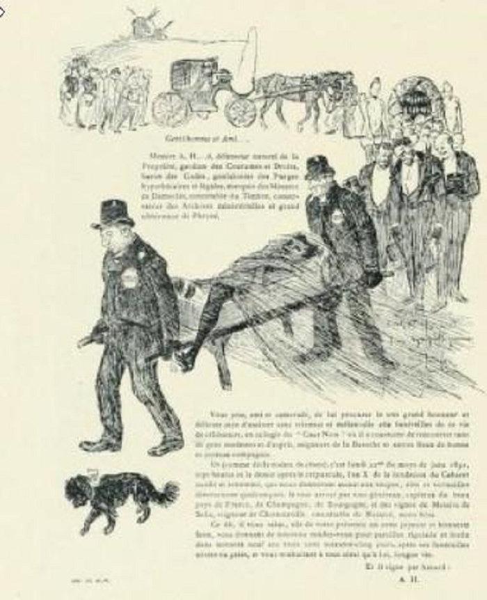 Invitation to Enterrement de la vie de garcon, Theophile Steinlen, 1891