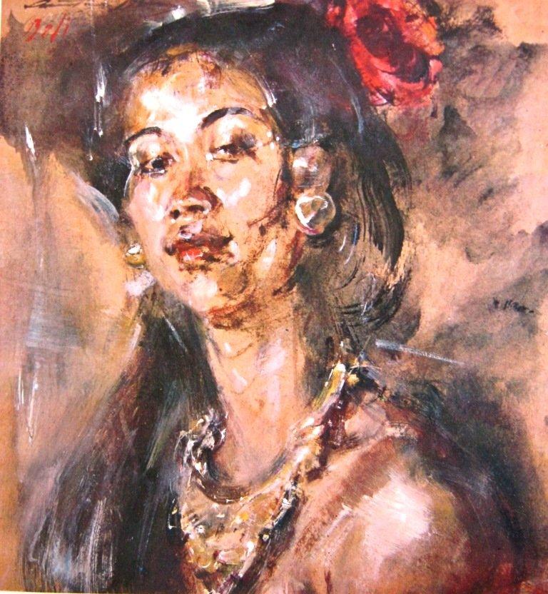 Antonio Blanco, Potret wanita Bali, Water color on paper, 33cm X 34,5cm-America-koleksi bung karno