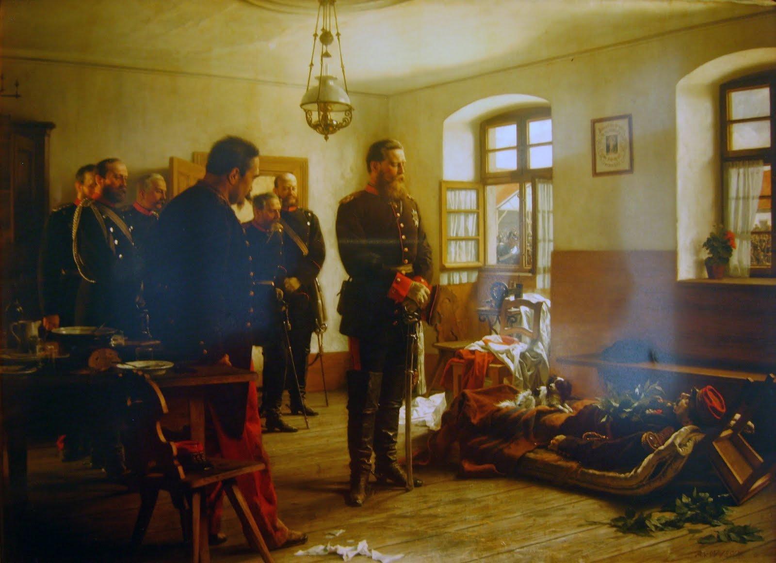 Kronprinz Friedrich Wilhelm an der Leiche des Generals Abel Douay, 1870