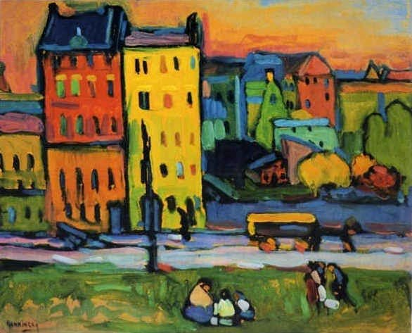 Vassily Kandinsky, Houses in Munich, oil on canvas, 1908