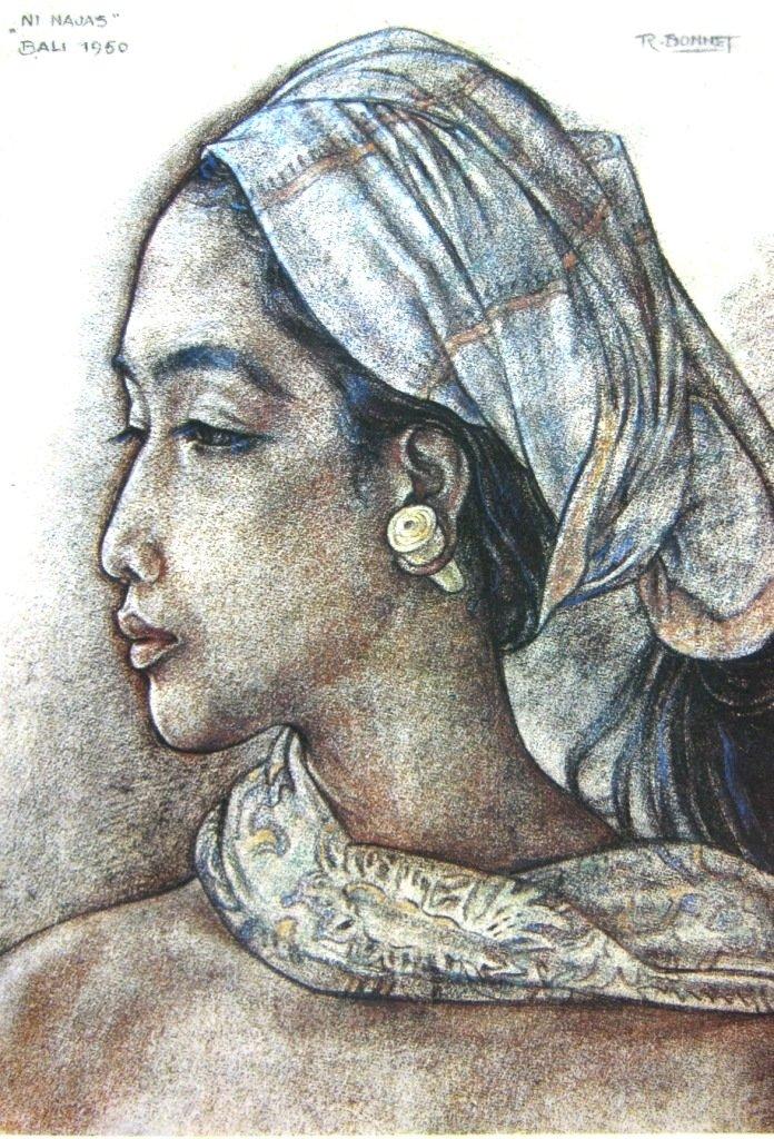 Bonnet, Ni najas, crayon diatas kertas, 58cm X 42cm, Th 1950-Koleksi Bung Karno