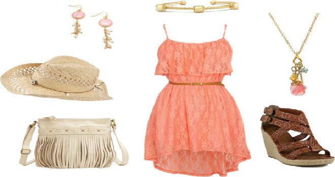 Peach dengan coklat outfit