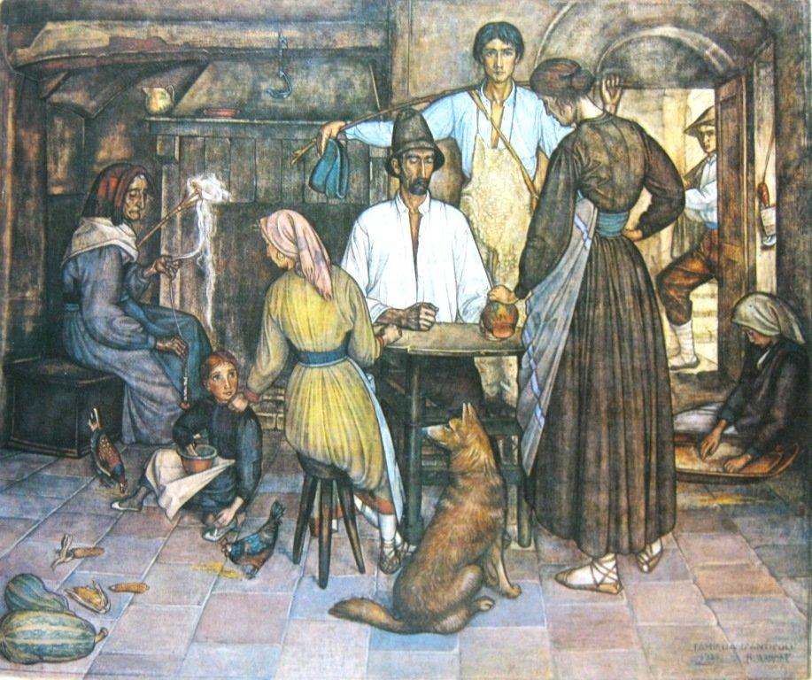 Bonnet, Keluarga Italian, tempera diatas kain, 150cm X 182cm-Koleksi Bung Karno