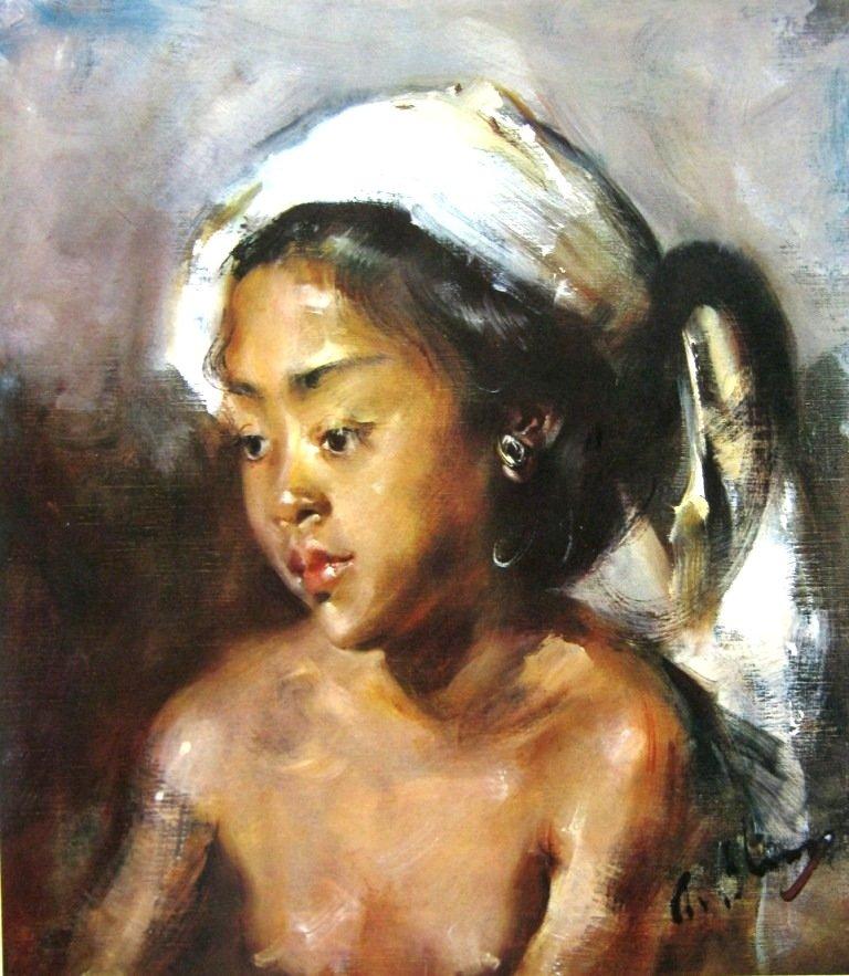 Antonio Blanco, potret seorang gadis Bali, oil on canvas, 53cm X 45cm - Amerika-koleksi bung karno