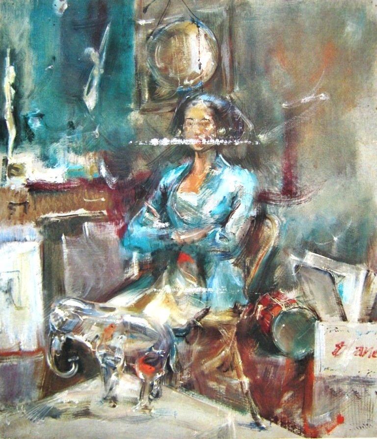 Antonio Blanco, wanita Bali, oil on canvas, 45cm X 52cm-Amerika-koleksi bung karno