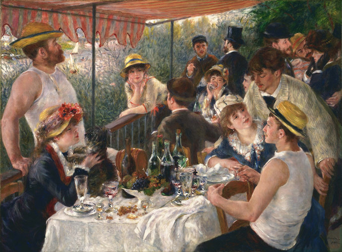 Lukisan Luncheon on the Boating Party (1881) Pierre-Auguste Renoir.