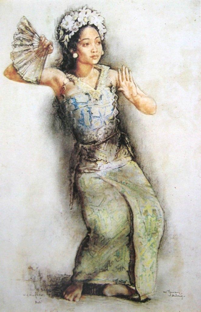 G Hofker, Ni cawan,penari legong, konte dan pastel diatas kertas, 47,5cm X 32cm-Netherland-koleksi bung karno