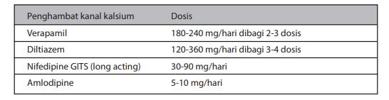 Jenis dan dosis penghambat kanal kalsium untuk terapi IMA