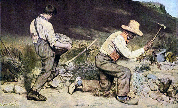 lukisan The Stone Breaker (1849). Gustave Courbet.