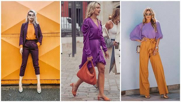 Orange dengan ungu untuk tabrak warna