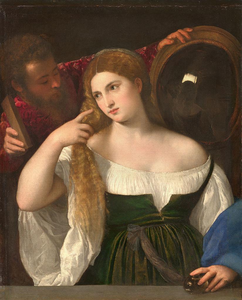 Woman with a Mirror by Titian, 96cm × 76 cm, oil on canvas, 1511 - Louvre (Paris)