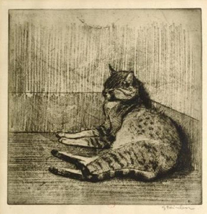 Cat Sleeping In A Corner, Chat Dormant Dans Un Coin, 1902
