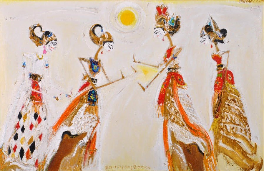 Puppets from Memayu Hayuning Bawono, Srihadi Soedarsono, 200 cm x 130cm, Oil on canvas, 1990