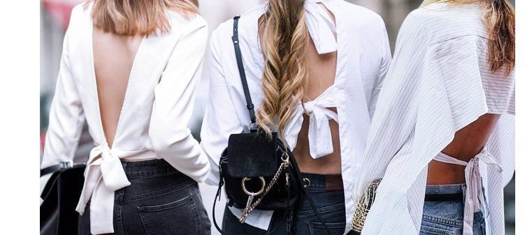 top outfit dengan punggung terbuka