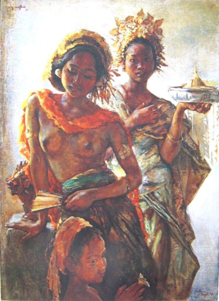 Hofker, Gadis-gadis Bali dalam pesta pura, Oil on canvas, 90cm X 61cm-koleksi bung karno
