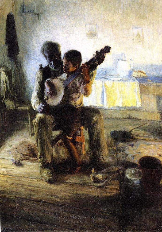 Lukisan Banjo Lesson (1893), Henry O. Tanner.