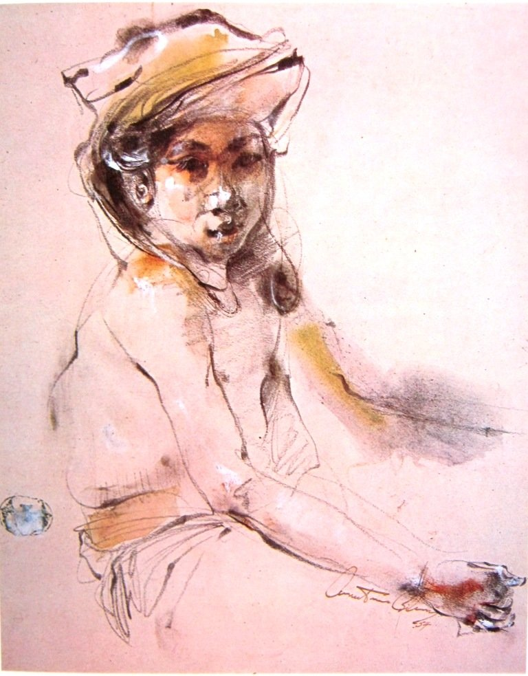 Antonio Blanco, Anak perempuan Bali, Water color on paper, 21cm X 26,5cm-Amerika-koleksi bung karno