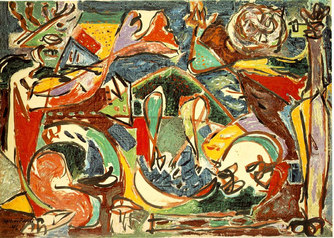 The Key, Jackson Pollock, 59 x 84 in, Oil on canvas, 1946, at The Art Institute of Chicago