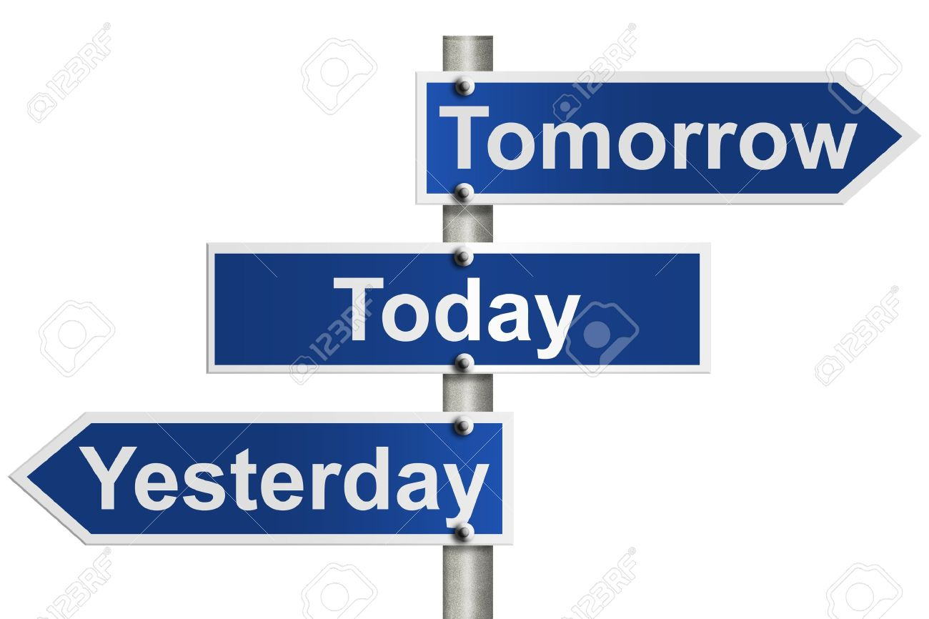 12686477-an-american-road-sign-isolated-on-white-and-yesterday-today-and-tomorrow-signs-only-today-counts