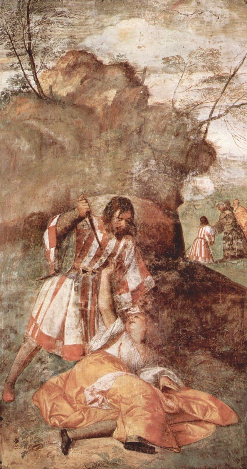 The Jealous Husband by Titian, 340cm _ 207 cm, Fresco, 1510 - Scuola di Sant'Antonio, Padua