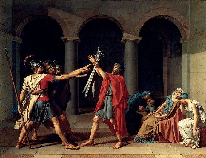 Lukisan Oath of Horatii (1774), Jacques-Louis David.
