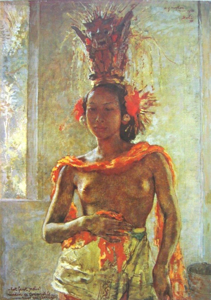 Hofker, Gadis Bali pada upacara melis, oil on canvas, 71,5cm X 50,5cm, Th 1940-Netherland-koleksi bung karno