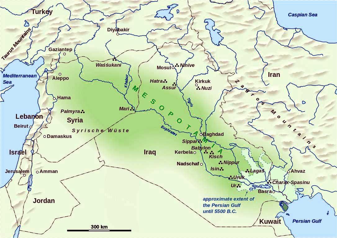 Wilayah peradaban Mesopotamia dalam peta modern