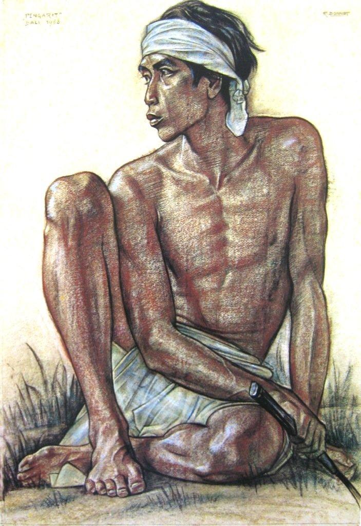 Bonnet, Seorang Pengarit, crayon on paper, 103cm X 71cm, Th 1953-Netherland-Koleksi Bung Karno