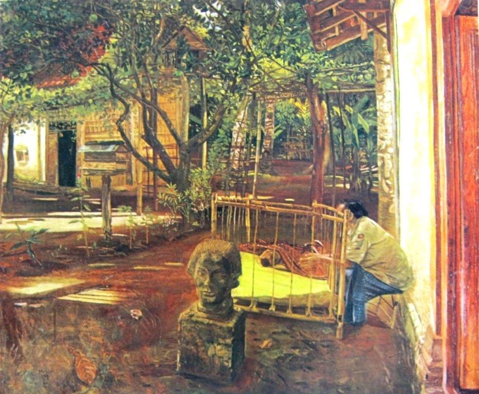 Sudjojono, Didalam kampung, Oil on canvas, 130cm X 150,5cm Th 1950-koleksi bung karno