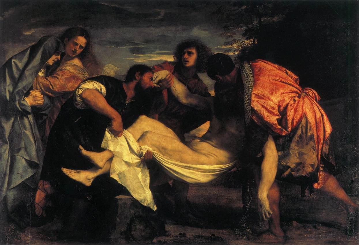 The Entombment by Titian, 148cm × 225 cm, oil on canvas, 1523 - Louvre (Paris)
