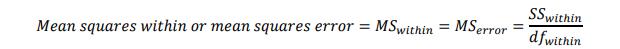 Varians dalam kelompok atau mean squares within groups or mean squares error