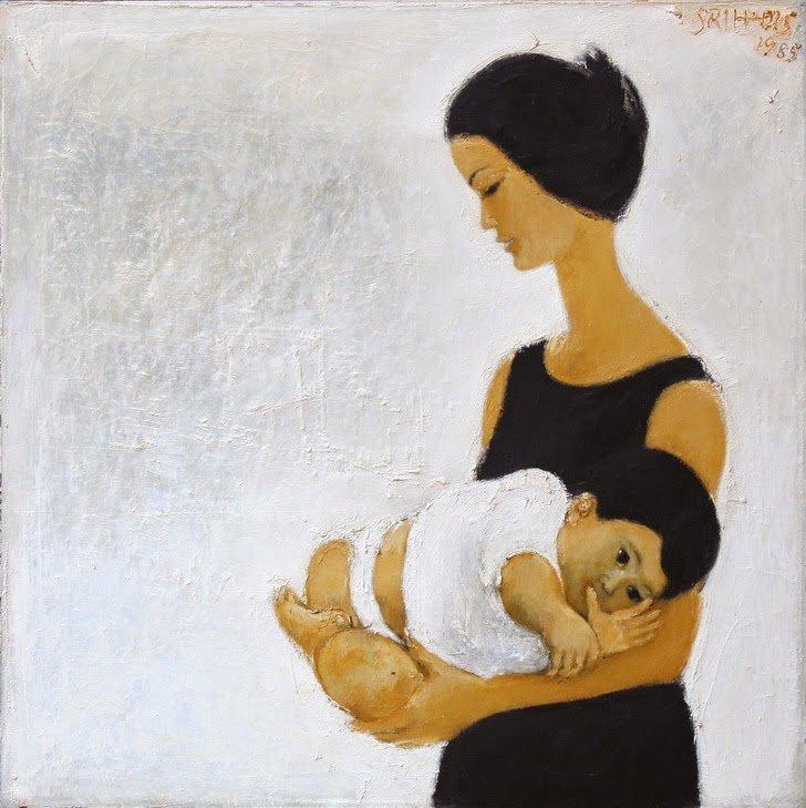 Farida And Tara,  Srihadi Soedarsono ,100 cm x 100cm,  Oil on canvas, 1985