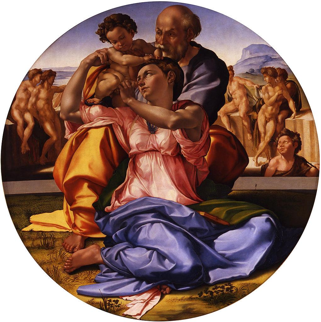 Michaelangelo Buonarroti, Doni Tondo (The Holy Family), Oil and tempera on panel, D 120 cm, circa 1503-1506, at Uffizi Gallery, Florence